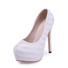 Women's Leatherette Stiletto Heel Pumps Closed Toe With Rhinestone shoes