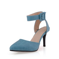 Suede Stiletto Heel Pumps Closed Toe Slingbacks With Buckle shoes