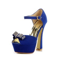 Cloth Chunky Heel Sandals Platform Peep Toe With Bowknot shoes