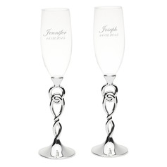Personalized Stainless Steel Toasting Flutes (Set of 2)