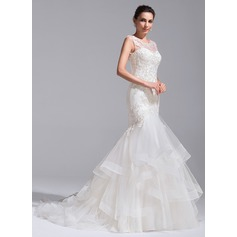 Trumpet/Mermaid Scoop Neck Court Train Tulle Lace Wedding Dress With Cascading Ruffles
