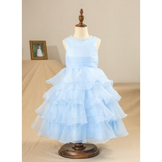 A-Line/Princess Tea-length Flower Girl Dress - Organza/Satin Sleeveless Scoop Neck With Ruffles/Beading/Pleated