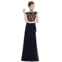Polyester/Lace/Satin/Tulle With Stitching Maxi Dress (199091371)