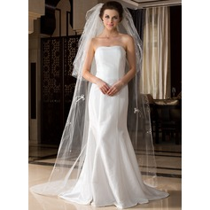 Three-tier Chapel Bridal Veils With Cut Edge