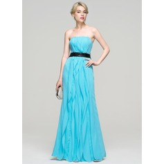 A-Line/Princess Strapless Floor-Length Chiffon Evening Dress With Bow(s) Cascading Ruffles