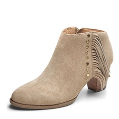 Women's Suede Chunky Heel Pumps Closed Toe Boots Ankle Boots With Tassel shoes