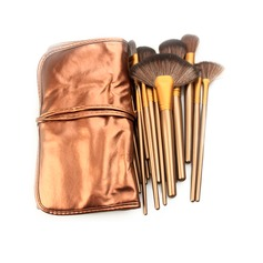 21Pcs Practical Artificial Fibre Makeup Brush Set With Coffee Pouch #CB2103