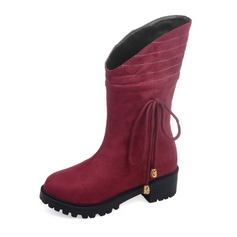 Women's Suede Flat Heel Flats Platform Closed Toe Boots Mid-Calf Boots With Bowknot shoes