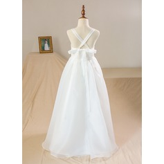 A-Line/Princess Floor-length Flower Girl Dress - Organza/Satin/Lace Sleeveless Scoop Neck With Lace