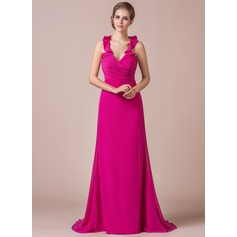 Trumpet/Mermaid Halter Sweep Train Chiffon Bridesmaid Dress With Bow(s) Cascading Ruffles