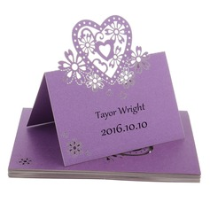 Nice Heart Shaped Pearl Paper Place Cards