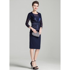 Sheath/Column Scoop Neck Knee-Length Mother of the Bride Dress With Lace