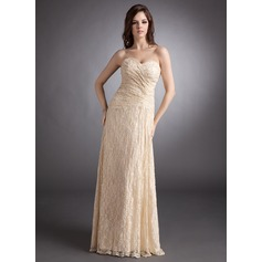 A-Line/Princess Sweetheart Floor-Length Lace Evening Dress With Ruffle Beading