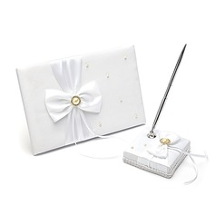 Splendor Ribbons/Bow/Sash Guestbook/Pen Set