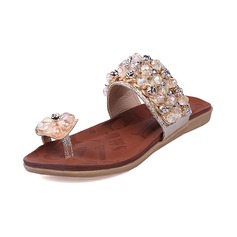Leatherette Flat Heel Sandals Flats Slippers With Rhinestone shoes