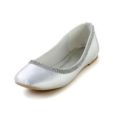 Women's Silk Like Satin Flat Heel Closed Toe Flats With Rhinestone
