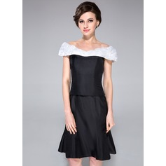 Sheath/Column Off-the-Shoulder Knee-Length Taffeta Mother of the Bride Dress With Ruffle Sash