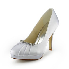 Satin Stiletto Heel Closed Toe Platform Pumps Wedding Shoes With Rhinestone (047017775)