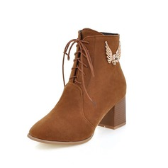 Women's Suede Chunky Heel Ankle Boots With Braided Strap shoes
