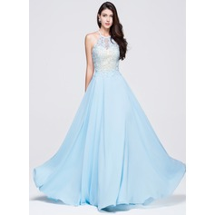 A-Line/Princess Scoop Neck Floor-Length Chiffon Prom Dress With Beading Appliques Lace Sequins (018070380)