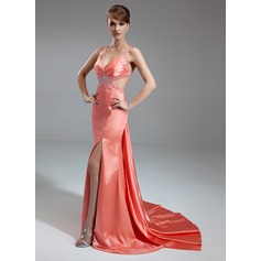 Trumpet/Mermaid V-neck Watteau Train Charmeuse Evening Dress With Ruffle Beading Split Front