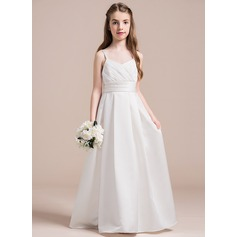 A-Line/Princess Sweetheart Floor-Length Taffeta Junior Bridesmaid Dress With Ruffle