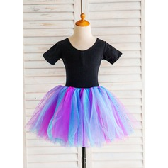 A-Line/Princess Knee-length Dancewear - Tulle Short Sleeves Scoop Neck