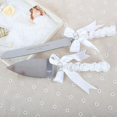 Personalized Elegant Stainless Steel Serving Sets With Ribbons