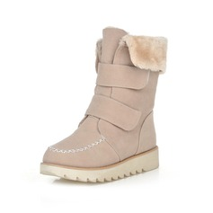 Suede Flat Heel Flats Platform Closed Toe Mid-Calf Boots Snow Boots With Velcro shoes