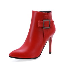 Women's Leatherette Stiletto Heel Closed Toe Ankle Boots With Buckle shoes