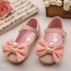 Girl's Leatherette Flat Heel Round Toe Closed Toe Flats With Bowknot Imitation Pearl Velcro