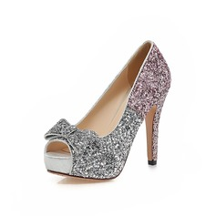 Leatherette Cone Heel Pumps Platform Peep Toe With Sparkling Glitter shoes
