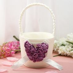 Beautiful Flower Basket in Satin With Rose Heart