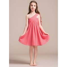 A-Line/Princess One-Shoulder Knee-Length Chiffon Junior Bridesmaid Dress With Ruffle