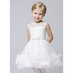 A-Line/Princess Knee-length Flower Girl Dress - Tulle Sleeveless Jewel With Bow(s)
