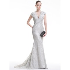 Trumpet/Mermaid V-neck Sweep Train Lace Evening Dress With Beading Sequins