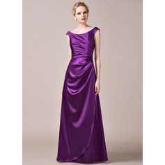 A-Line/Princess Off-the-Shoulder Floor-Length Charmeuse Bridesmaid Dress With Ruffle