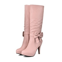 Women's Leatherette Stiletto Heel Pumps Closed Toe Boots Over The Knee Boots With Button shoes