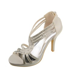 Women's Satin Stiletto Heel Peep Toe Sandals With Rhinestone