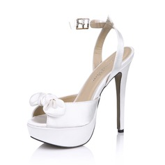 Women's Satin Stiletto Heel Peep Toe Platform Sandals Slingbacks With Bowknot