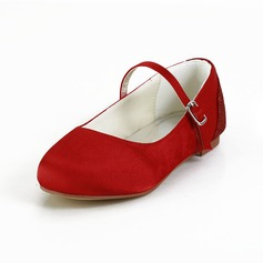 Girl's Satin Flat Heel Closed Toe Flats With Flower (207095465)