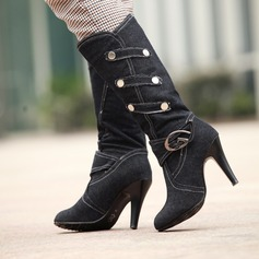 Women's Cloth Stiletto Heel Boots With Rivet Buckle shoes