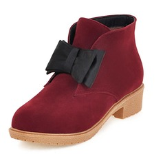 Women's Suede Chunky Heel Boots Ankle Boots With Bowknot shoes