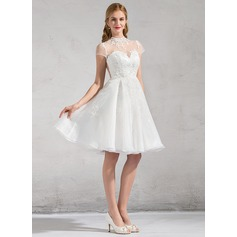 A-Line/Princess High Neck Knee-Length Organza Wedding Dress With Lace Appliques Lace