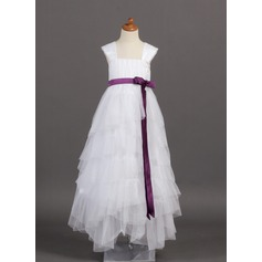 A-Line/Princess Floor-length Flower Girl Dress - Tulle/Charmeuse Sleeveless Square Neckline With Ruffles/Sash/Bow(s)