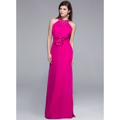 Sheath/Column Scoop Neck Floor-Length Chiffon Evening Dress With Beading Flower(s)