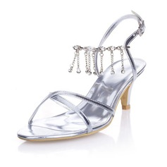 Women's Leatherette Kitten Heel Pumps Sandals With Buckle Rhinestone Chain