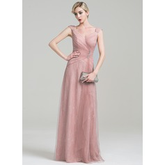 A-Line/Princess V-neck Floor-Length Tulle Lace Evening Dress With Ruffle Beading Sequins