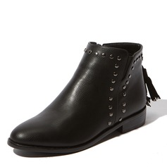 Women's Leatherette Flat Heel Flats Closed Toe Boots Ankle Boots With Rivet Tassel shoes