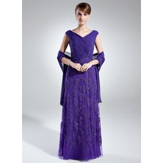A-Line/Princess Off-the-Shoulder Floor-Length Chiffon Mother of the Bride Dress With Ruffle Lace